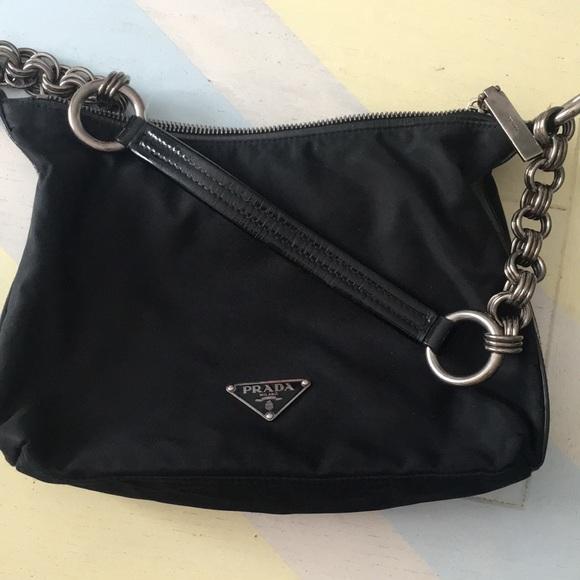 e5f5429bc8daa8 discount authentic prada black tessuto gold chain shoulder bag b1467 6c7fc  aaf50; reduced prada nylon bag 95001 6b55f